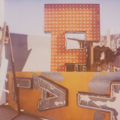 neon museum boneyard. film: expired polaroid 600