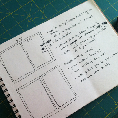 instructions and dimensions for the pamplet stitched folder