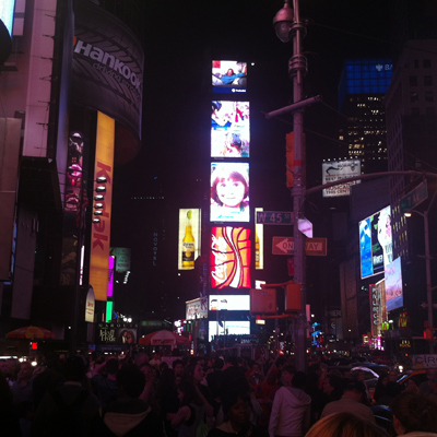 times square after gorging on sushi