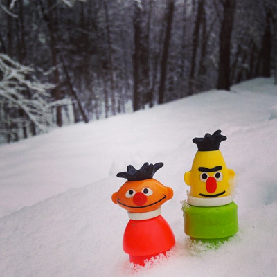 bert & ernie go on the road, raleigh edition. they did not expect this much fucking snow.