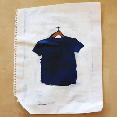 painting of a blue t-shirt