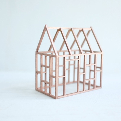 etsy : 2of2 : small rose gold birch frame house