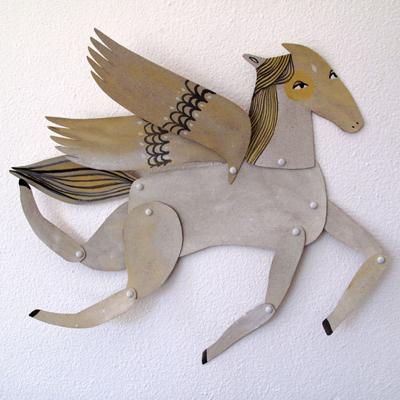 etsy : benconservato : white winged horse articulated decoration  / hinged beasts series