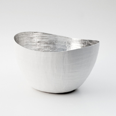 etsy : etco : paper mache vessel in white and silver - the wavy