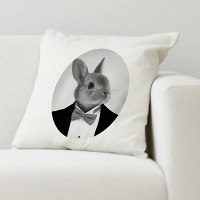 etsy : french gallery : rabbit portrait original pillow cushion cover 100% cotton