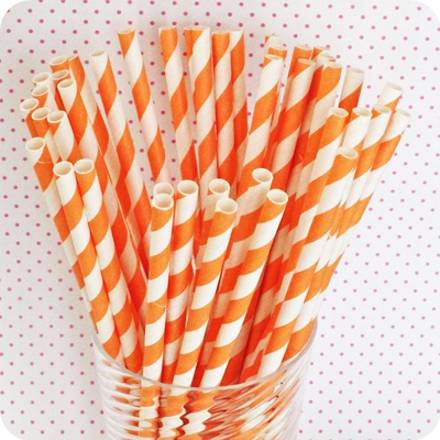 etsy : hey yo yo : 100 orange paper drinking straws