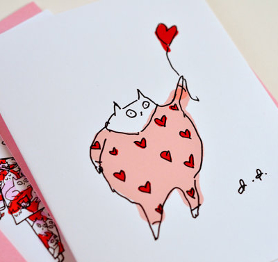 etsy : the dancing cat : valentine card- happy valentine's day cat cards