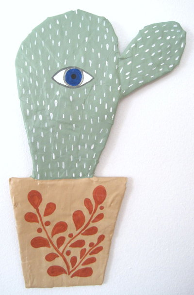 esty : jikits : cact-eye papier mache wall art