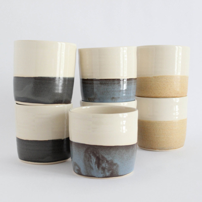 etsy : julia paul pottery : horizon cup set, six pottery tumblers, if you are feeling adventurous