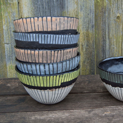 etsy : keramikka : sage green black and white pincy stripey cereal, soup, or salad bowl