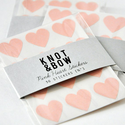 etsy : knot &amp; bow : 144 pink heart stickers