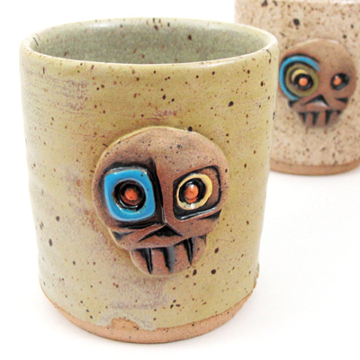 etsy : lapella pottery : skully rocks glasses