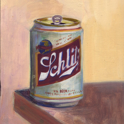 etsy : larry forte : original oil painting, schlitz beer can
