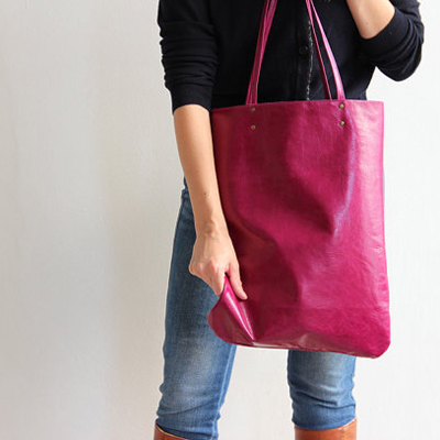 etsy : leah lerner : leather bag in magenta