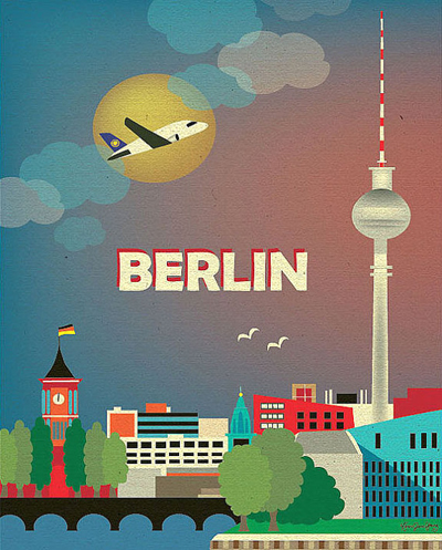 etsy : loose petals : berlin, germany skyline - 8 x 10 vertical wall art poster print