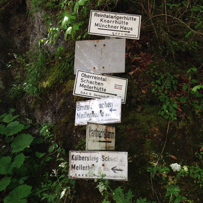 trail signs near partnachklamm. that day we hiked past schloss elmau and almost made it to reintalangerhütte (if only we had known how close we were when we turned around). later in the trip we hiked to schachen.