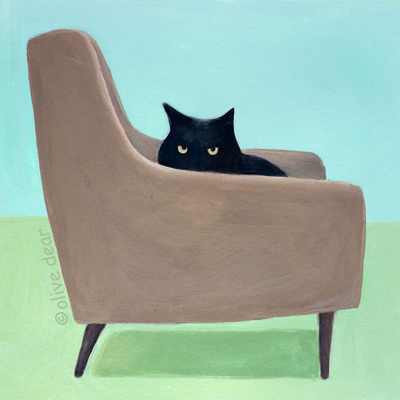 etsy : olive dear : cat on mid century chair