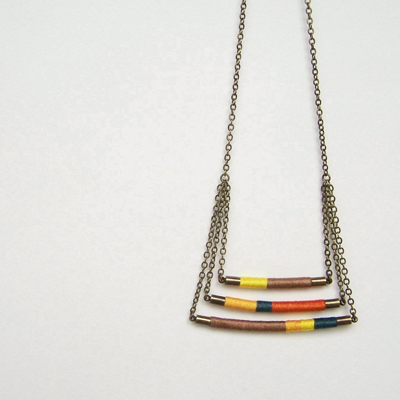 etsy : orange is the sun :  swing tier DAVIS necklace - textile and leather with antiqued brass chain (canary spruce mocha mango carrot)