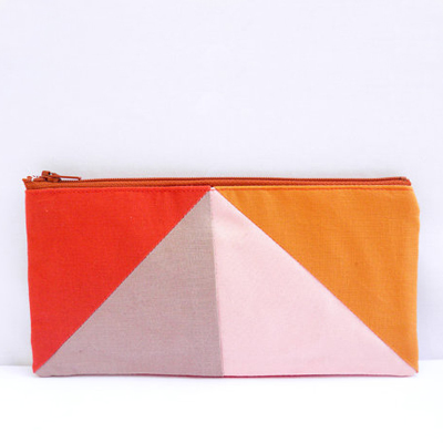 etsy : pamplemouss : neon zipper pouch 4&quot;X8&quot; geometry pencil case in paprika camel peach and apricot