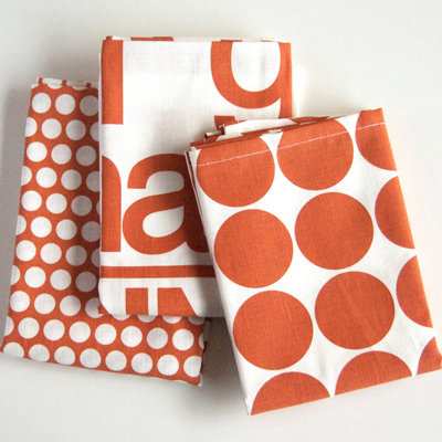 etsy : printing grounds :  Set of Three Tea Towels, Hand Printed Dot, Bitty Dot and Harvest in Burnt Orange