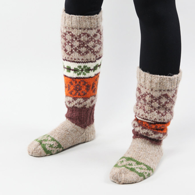 etsy : rg ideas : knee high knitted socks with scandinavian ornaments for women