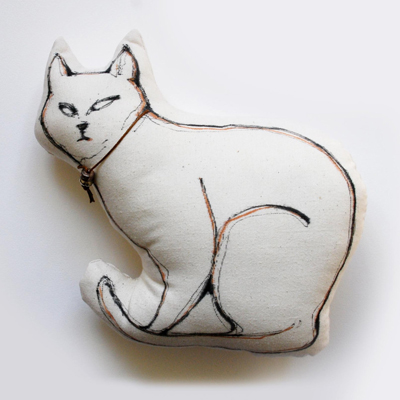 etsy : simple art studio : cat pillow