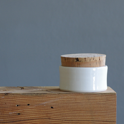 etsy : vitrifiedstudio : white corked cellar - porcelain lidded container