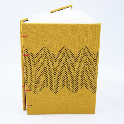 etsy : west cermak : zig zag - screenprinted yellow journal